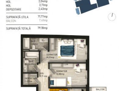 Apartament 3 camere imobil nou zona Piata Mihai Viteazu