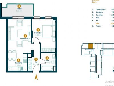 Apartament 2 camere imobil nou zona Intre Lacuri