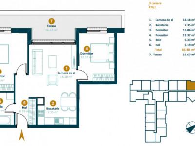 Apartamente 3 camere zona Intre Lacuri Imobil nou